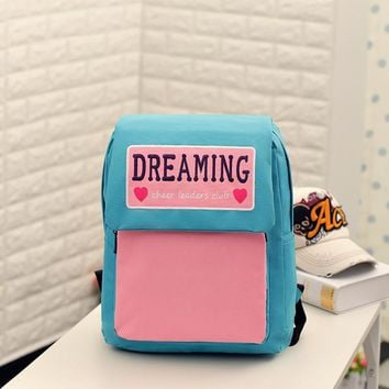 NEW Harajuku ulzzang female candy colour dreaming patchwork schoolbag cheer leaders club embroidery backpack women shoulder bag