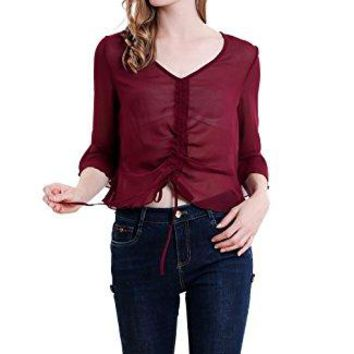 Vero Viva Women Summer Sheer VNeck Flared Half Sleeve Chiffon Blouse Drawstring Casual Shirts Tops
