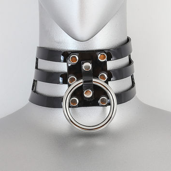 Black Vinyl 3 Strap Choker Necklace w/ 1 Silver O Ring