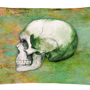 Day of the Dead Green Skull Canvas Fabric Decorative Pillow BB5122PW1216