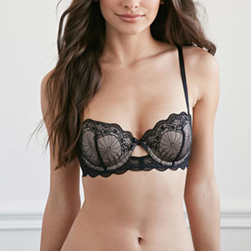 Cutout Embroidered Lace Bra