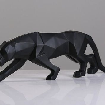 Geometric Black Panther Sculpture