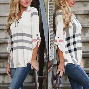 White Plaid Pattern Rolled Sleeve Blouse