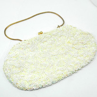 Vintage Ivory white formal evening Clutch Handbag Fully Beaded and Sequined Antique 1950s Retro Handmade in Hong Kong Smaller size