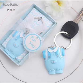 10pcs Baby Shower Favors Blue Clothes Design Keychain Baby Baptism Gift For Guest Birthday Party Souvenir