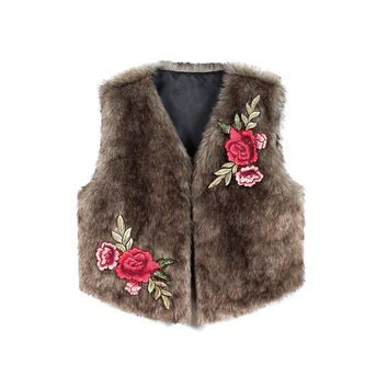 1PC Luxury Women Embroidery Faux Imitation Fur Coats Vest Sleeveless Furry Slim Thick Warm Top Fake Fur Vest Plus Size Winter
