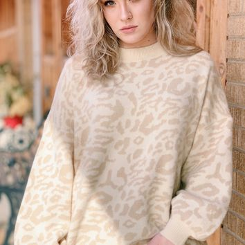 Faded Leopard Puff Sleeve Sweater {Taupe}