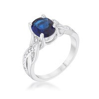 Sapphire Sparkle - Crystal Detailed Oval Cut CZ Stone Brass Ring