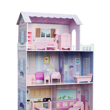 Teamson Kids - Fancy Mansion Doll House (w/ 13pcs furniture)-KYD-10922A