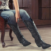 Stud Rocker Boots by Lane Boots - Black