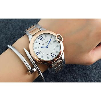 Cartier women men exquisite fashion watch Silver rose gold I-Fushida-8899