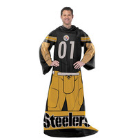 Pittsburgh Steelers NFL Uniform Comfy Throw Blanket w- Sleeves