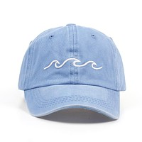 Sea Wave Sky Blue & Dark Grey Embroidered Washed Cotton Dad Hat