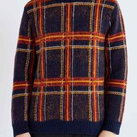 CPO Brushed Plaid Crew Neck Sweater- Navy