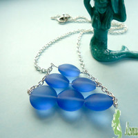 Something Blue Sea Glass Beach Bride Jewelry Ocean Jewelry Mermaid Jewelry Sea Glass Necklace Bridesmaid Gift