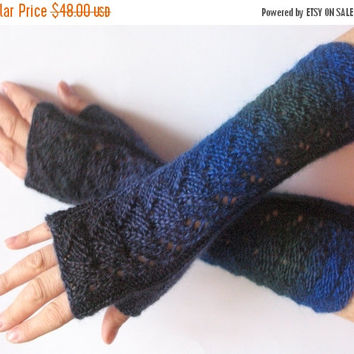REGULAR PRICE Fingerless Gloves Dark Blue Green Black Arm Warmers Knit Soft