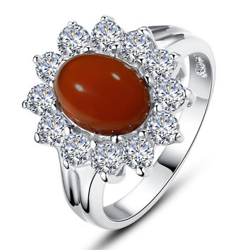 Sterling Silver Ring W. Red Onxy and Cubic Zirconia Halo