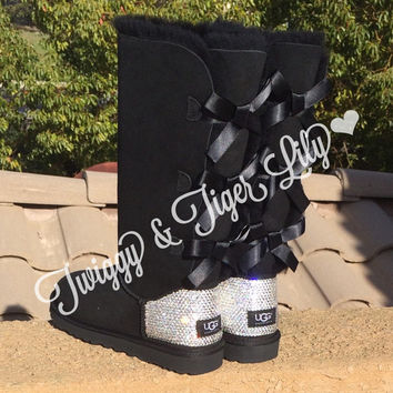NEW - Black TALL Bailey Bow Uggs With Swarovski Crystal Bling Embellishment - Crystal Bling Ugg Boots with Bows