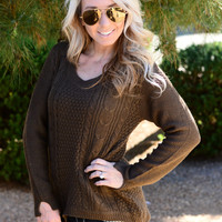 TIGHT ROPE SWEATER IN CHOCOLATE