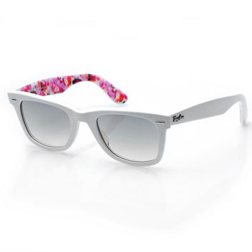 rb2140 wayfarer rare print 50mm ( white/flower) | Ray Ban | 80's Purple