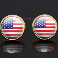 American Flag United States Flag gold plated stud post earrings,girlfriend gift Bridesmaid Gift