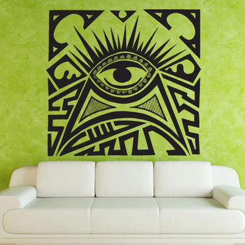 Wall decal decor decals art sticker all seeing eye annuit coeptis illuminati god triangle mason undertakings favorably (m762)
