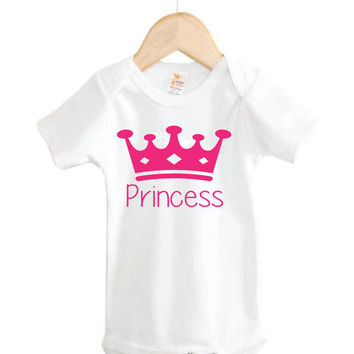 Princess Onesuit // Baby shirt // Baby clothes // Princess // Crown // Hand made Onesuit
