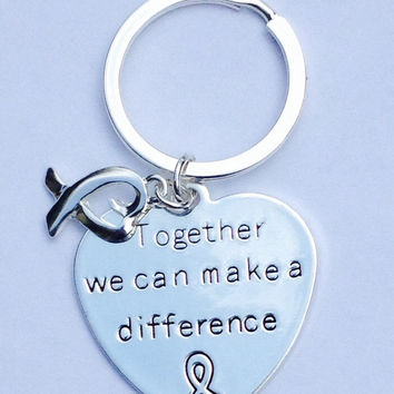 "Key chain with words ""Together We Can Make a Difference"" with Ribbon Heart Charm for Causes"