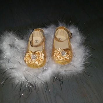Gold Baby Shoes, Baby Shoes,Gold Baby Shoes,Christening baby shoes, baby girl crib shoes, Wedding, Ready to ship