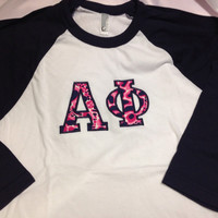 Alpha Phi Lilly Baseball Shirt in Size Small