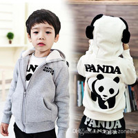 10 Pcs/lot + New Unisex Baby Kids Cotton Blended China Panda Design long sleeve Hoodies Sweatshirt Coat Clothing For Spring/Autumn/Winter