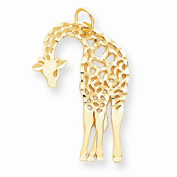 Solid 10k Yellow Gold Polished Giraffe Pendant