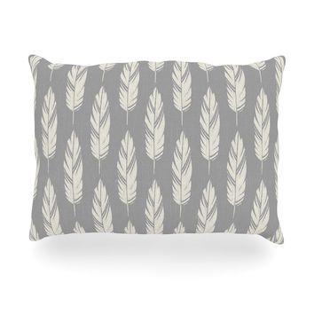 "Amanda Lane ""Feathers Gray Cream"" Grey Pattern Oblong Pillow"