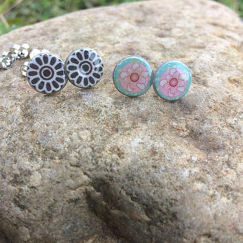 Boho Flower Earrings, Classic Stud Earrings, Earrings Set, Hippie Jewelry, Post Earrings, Jewelry Set,  Handmade OOAK Earrings, Gift for Her