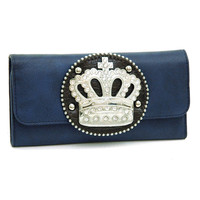 Rhinestone Crown sign wallet checkbook Turquoise Blue Color: Navy Blue
