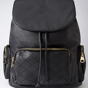 Perforated Faux Leather Backpack