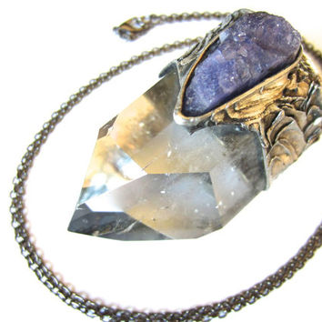 inanna - raw tanzanite and quartz necklace - raw gemstone jewelry - raw tanzanite pendant