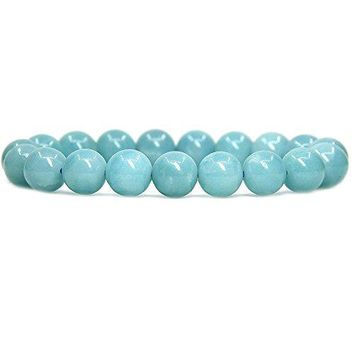 Amandastone Natural Genuine Semi Precious Gemstones Healing 10mm Beaded Stretch Bracelet 7quot Unisex