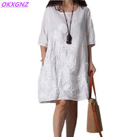OKXGNZ Cotton Linen Dress Women 2017 Summer New Fashion Costume Embroidery Dress Round Neck Middle Sleeves Loose Plus Size AH143