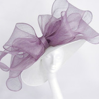 White and Lilac Kentucky Derby or Wedding Hat (in 20 colours)