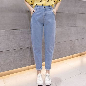 Women Blue Casual High Waist Jeans 2018 Autumn Winter Celebrity Boyfriend Loose Mom Jeans Femme Streetwear Black Denim Pants