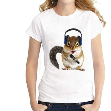 Lovely Singing squirrel Printed T shirt Top Tee