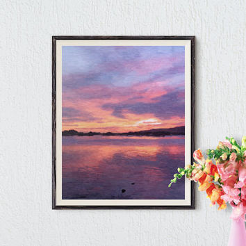 Abstract landscape painting, Digital print, Landscape printable art, Wall decor, Interior design, Modern home decor, Instant download