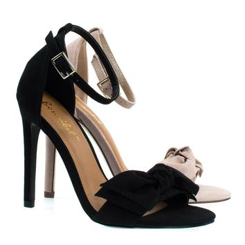 Bow1 Black By Bonnibel, High Heel Sandal W Oversized Bow Ornamentation, Women's Evening Shoes