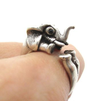 3D Elephant Shaped Animal Hug Ring in Silver | US Sizes 6 to 8