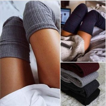 Sexy grey Knees pile piles Knitted stockings-1