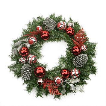 "24"" Pre-Decorated Red and Silver Holly  Ball  Cedar and Pine Cone Artificial Christmas Wreath - Unlit"