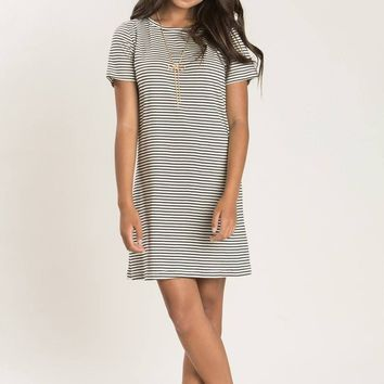 Melody Black Stripe Knot Back Dress
