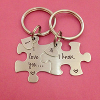 Puzzle Piece Key Chain Set I Love You I Know Heart Charms with Initials Hand Stamped Personalized His and Hers Set