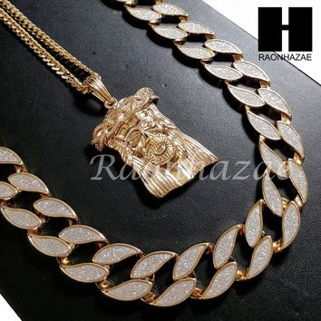 "Iced Out 14k Gold PT Drake Jesus Face 15mm Cuban 30"" Chain/Concave Necklace S168"